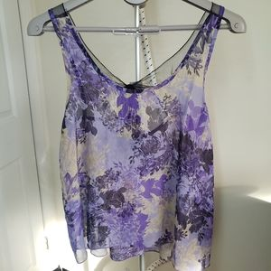 XXI sheer and lace tie back tank top